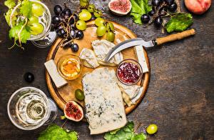Bilder Käse Weintraube Echte Feige Konfitüre Schneidebrett Lebensmittel