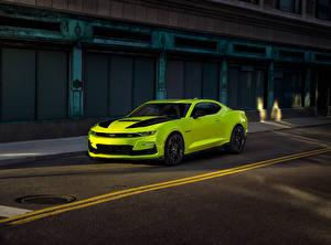 桌面壁纸,,雪佛兰,黃綠色,金屬漆,2018 Camaro SS Shock Concept,汽车
