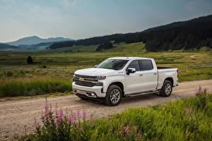 Hintergrundbilder Chevrolet Pick-up Weiß 2019 Silverado High Country Crew Cab