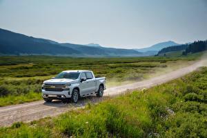 Hintergrundbilder Chevrolet Pick-up Weiß 2019 Silverado High Country Crew Cab Autos