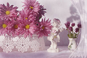 Fotos Chrysanthemen Vase Rosa Farbe