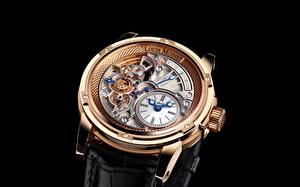 Images Clock Watch Closeup Black background Louis Moinet