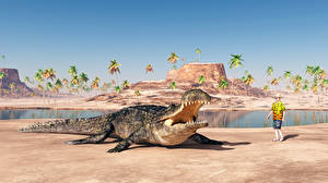 Fonds d'écran Côte Crocodile Homme Animaux 3D_Graphiques