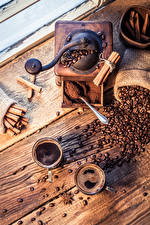 Bilder Kaffee Zimt Sternanis Kaffeemühle Bretter Zwei Tasse Kind Kinder