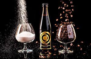 Pictures Drinks Beer Coffee Salt Stemware Bottle Black background Imperial porter Food