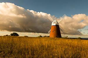 Wallpaper England Autumn Fields Mill Clouds Grass Halnaker Windmill Nature
