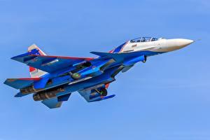 Picture Airplane Fighter aircraft Sukhoi Su-30 Flight Russian Su-30SM