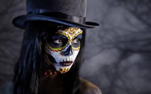 Papéis de parede Dia das bruxas Maquilhagem Chapéu Rosto Meninas