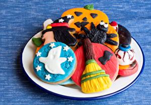 Hintergrundbilder Feiertage Halloween Backware Kekse Teller Design Lebensmittel