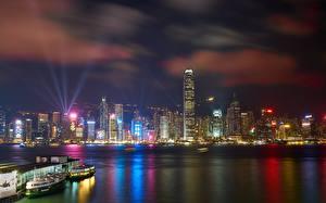 Bilder Hongkong Wolkenkratzer Nacht Megalopolis