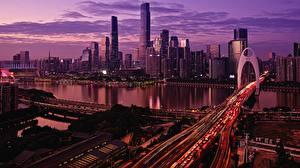 Fotos Gebäude Brücken Abend China Flusse Megalopolis Guangzhou