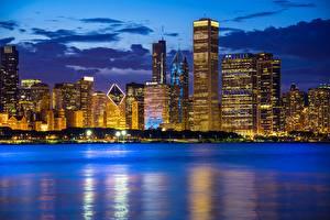 Bilder Gebäude Abend Küste Wolkenkratzer See Chicago Stadt Lake Michigan Illinois