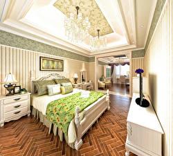 Image Interior Design Bedroom Bed Chandelier Lamp 3D Graphics