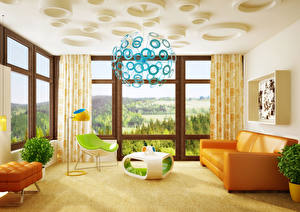 Pictures Interior Design Lounge sitting room Couch Chandelier 3D Graphics