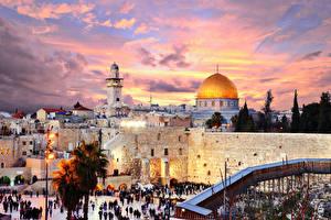 Hintergrundbilder Israel Gebäude Tempel Abend Straßenlaterne Jerusalem