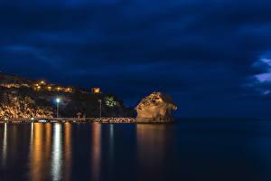 Pictures Italy Sea Pier Crag Night Street lights Ischia