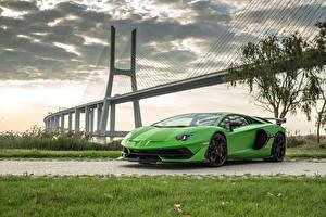 Фото Lamborghini Желто зеленый 2018 Aventador SVJ Worldwide машины