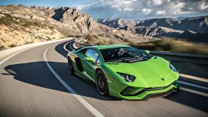 Fotos Lamborghini Wege Gelbgrüne Bewegung 2017 Aventador S