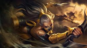 Wallpapers LOL Warriors Assassin Dagger Splash, Akali vdeo game Fantasy