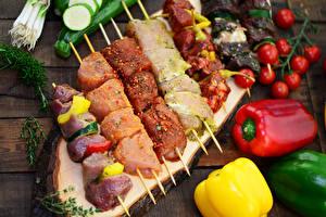 Papel de Parede Desktop Produtos de carne Chachlik Hortaliça Tomate Pimentão comida