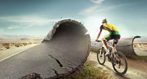 Hintergrundbilder Mann Fahrräder Hinten Asphalt