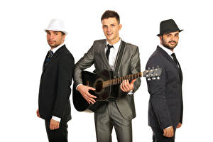 Image Men White background Guitar Three 3 Costume Music