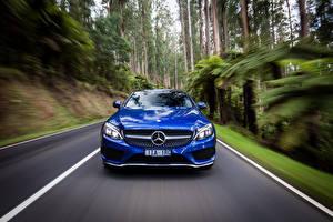 Wallpaper Mercedes-Benz Coupe Front Motion Blue AMG C-Class C205