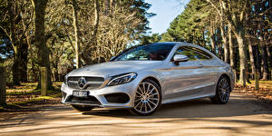 Wallpapers Mercedes-Benz Silver color Coupe AMG C-Class C205