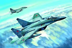 Images Painting Art Airplane Fighter Airplane Mikoyan MiG-29 Russian Mig-29C
