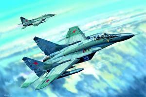 Hintergrundbilder Gezeichnet Flugzeuge Jagdflugzeug Mikojan-Gurewitsch MiG-29 Russisches Mig-29C Luftfahrt