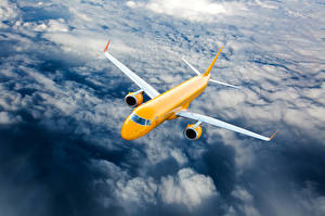 Image Airplane Passenger Airplanes Sky Clouds Flight Yellow