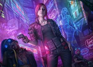 Bilder Pistolen Cyberpunk 2077 Rotschopf Spiele Mädchens