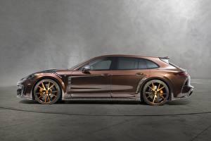 Bilder Porsche Seitlich Braun Panamera Turismo 2018 Sport Mansory Autos