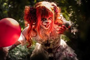 Fonds d'écran Roux Fille Clowns Affreux Cosplay Cheveux Filles