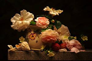 Bilder Rosen Muscheln Stillleben Pflaume Vase Blumen