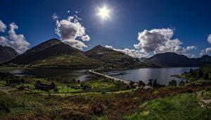Picture Scotland Mountains Lake Roads Evening Landscape photography Clouds Sun Carn Gorm Nature