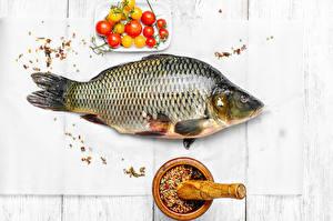 Image Seafoods Fish - Food Spices Tomatoes Wood planks Food