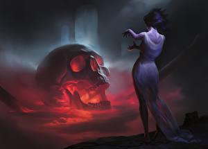 Hintergrundbilder Cranium Gotische Kleid Fantasy Mädchens