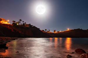 Wallpaper Spain Bay Cliff Night time Moon Bolnuevo