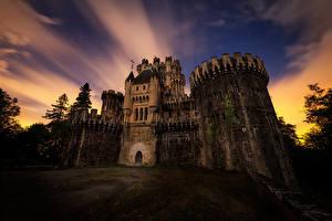 Pictures Spain Castles Evening Butron Castle Cities