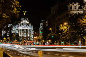 Bilder Spanien Madrid Gebäude Wege Nacht Straßenlaterne