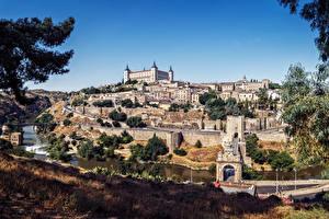 Hintergrundbilder Spanien Toledo Gebäude Flusse Brücken Städte