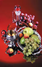 Photo Still-life Grapes Apples Pears Apricot Jugs Stemware
