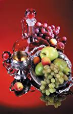 Photo Still-life Grapes Apples Pears Apricot Jugs Stemware Food