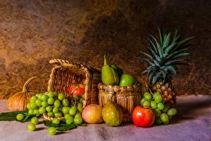 Bilder Stillleben Weintraube Obst Weidenkorb Lebensmittel