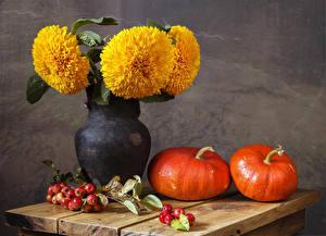 Wallpapers Still-life Tagetes Pumpkin Apples Vase Branches Food