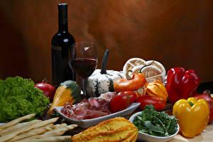 Wallpapers Still-life Wine Pumpkin Bell pepper Ham Vegetables Tomatoes Bottle Stemware Food