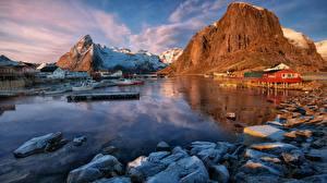 Hintergrundbilder Steine Schiffsanleger Lofoten Norwegen Felsen Bucht Natur