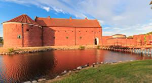 Hintergrundbilder Schweden Festung Flusse Brücken Landskrona Städte