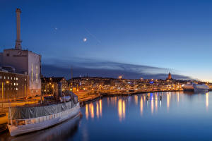 Pictures Sweden Building River Marinas Ships Night time Gothenburg Cities